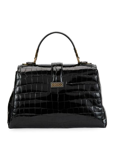 Piazza Small Crocodile Top-Handle Satchel Bag
