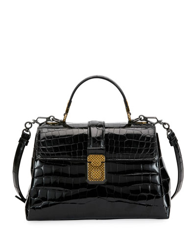 Piazza Small Crocodile Top-Handle Satchel Bag