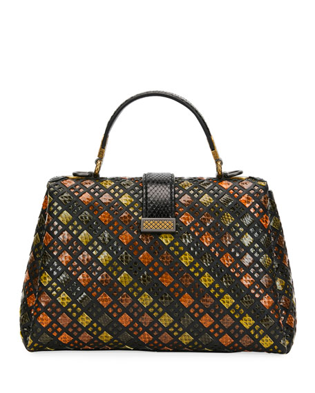 Piazzo Small Stained Glass Napa/Ayers Top-Handle Satchel Bag