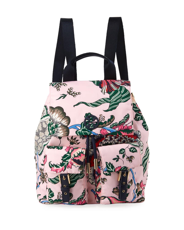 b4350735602 Tory Burch Tilda Printed Nylon Flap Backpack | Neiman Marcus