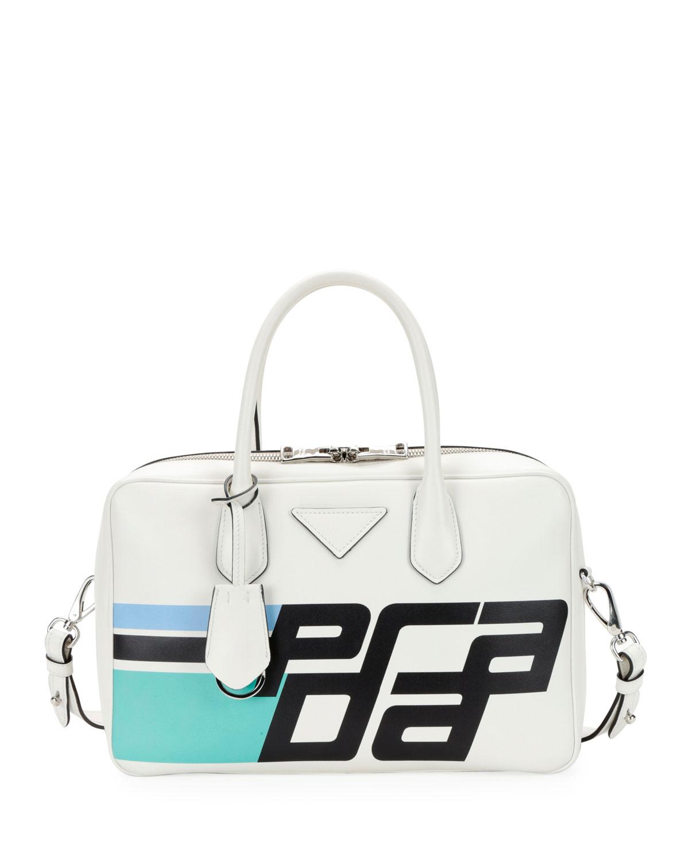 11167f1da43 Prada Prada City Calf Logo Bowler Bag   Neiman Marcus