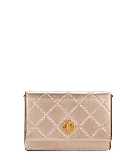 Mini Georgia Quilted Metallic Leather Shoulder Bag - Pink, Rose Gold