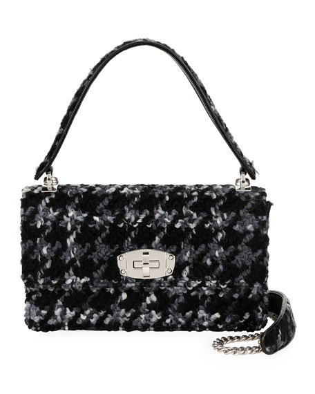Cleo Boucle Top-Handle Shoulder Bag in Black