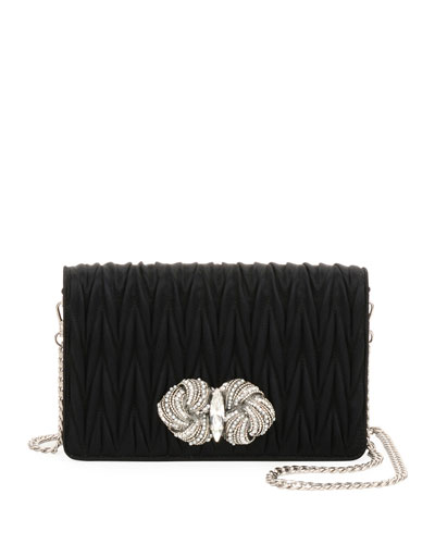 Matelassé Raso Satin Flap Crossbody Bag