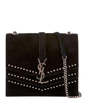 Saint Laurent Sulpice Monogram Triple-Flap Suede Crossbody Bag - Silver  Hardware 5b34ff231668e