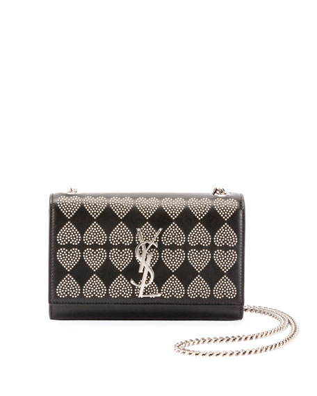 Kate Monogram YSL Small Heart-Studded Leather Crossbody Bag