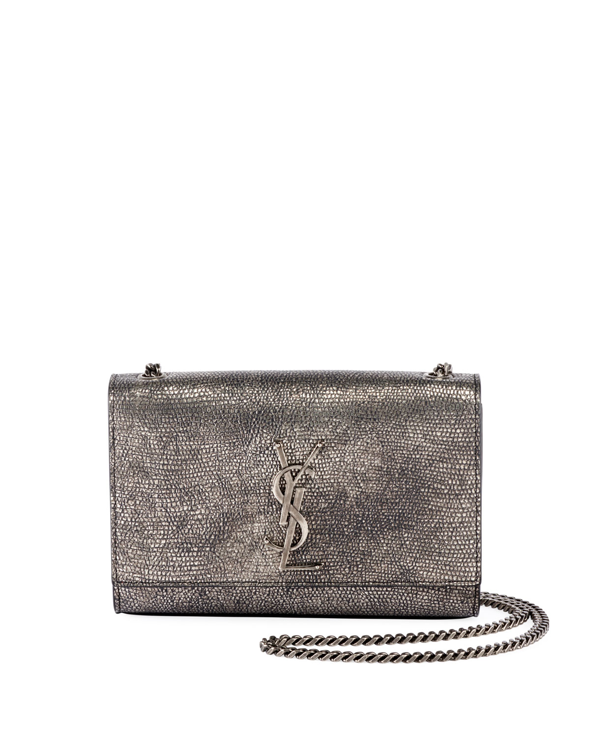 c8baffa64eca Saint Laurent Kate Monogram YSL Small Metallic Lizard-Print Crossbody Bag