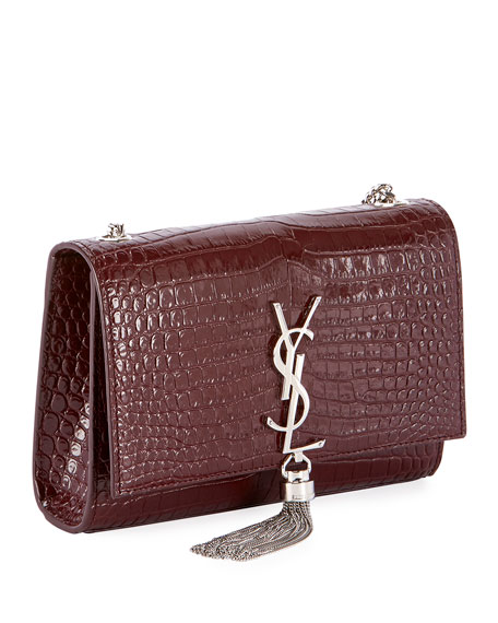 Kate Monogram YSL Small Tassel Croco Shoulder Bag