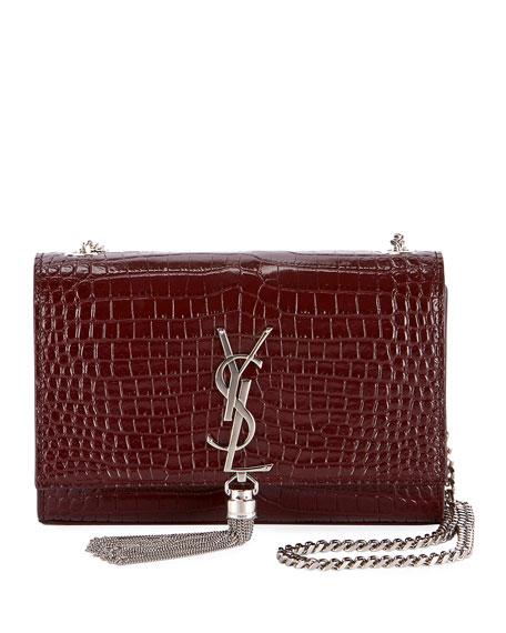 Saint Laurent Kate Monogram YSL Small Tassel Croco Shoulder Bag | Neiman Marcus