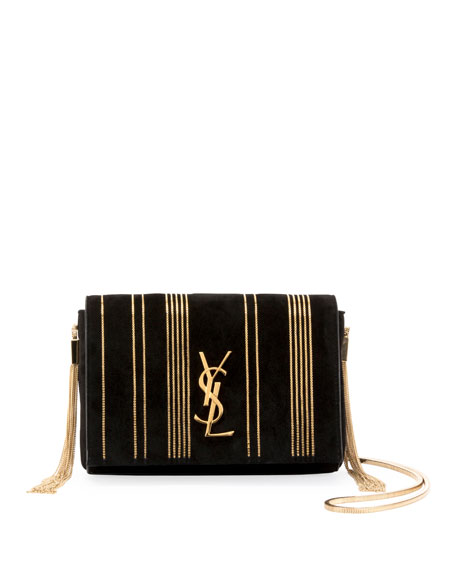 Saint Laurent Kate Monogram Ysl Small Suede Tassel-Side Chain Crossbody Bag  In Black d1111fbf66