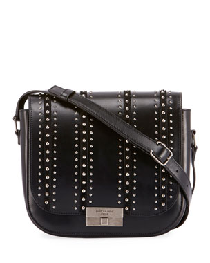 c2c5f21c99 Saint Laurent Betty Stud-Stripe Leather Flap Crossbody Messenger Bag
