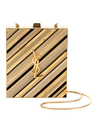 Tuxedo Monogram YSL Chain-Detail Box Minaudiere Clutch Bag