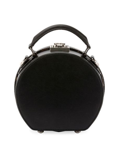 Mica Leather Top-Handle Hat Box Bag w/ Crossbody Strap
