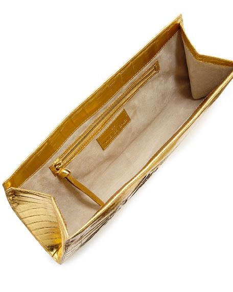 Bamboo Crocodile Slicer Clutch Bag
