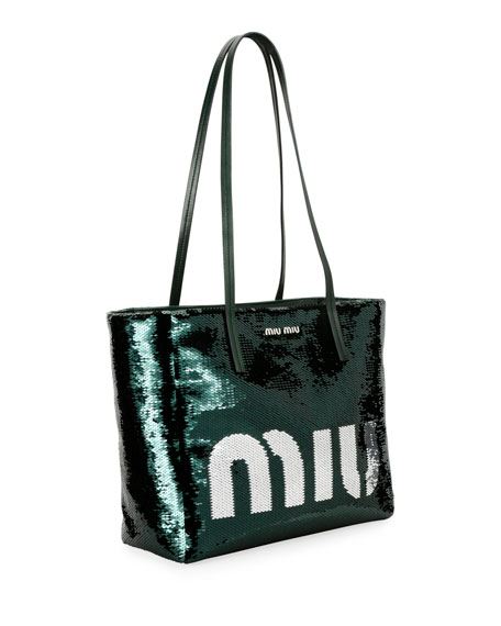 Logo Paillettes Shoulder Tote Bag