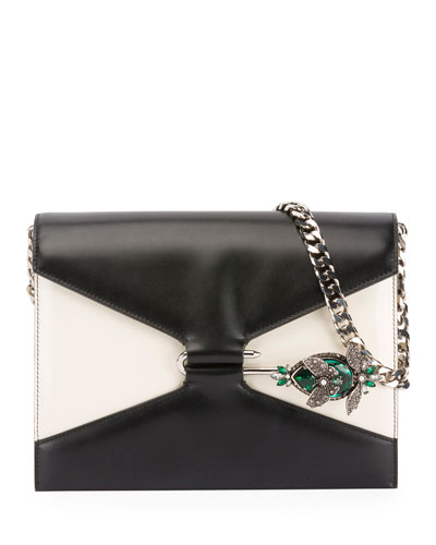 Two-Tone Pin Shoulder Bag