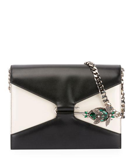 Two-Tone Pin Shoulder Bag