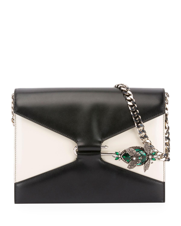 0adf5b4a2775 Alexander McQueen Two-Tone Pin Shoulder Bag | Neiman Marcus