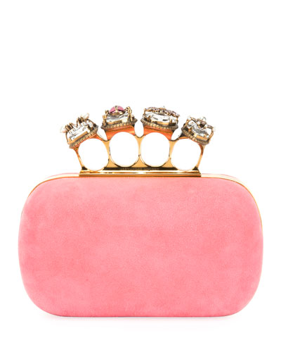 Suede Four-Ring Knuckle Box Clutch Bag