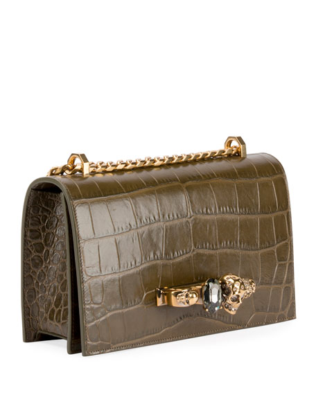 Jeweled Croc-Embossed Leather Satchel Bag