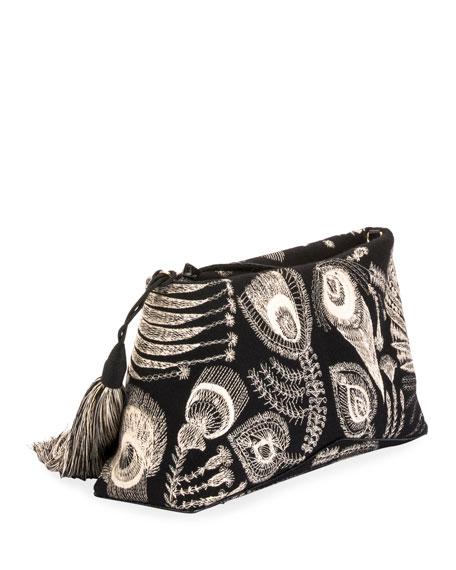 Felted Wool Zip Clutch Bag with Tassel