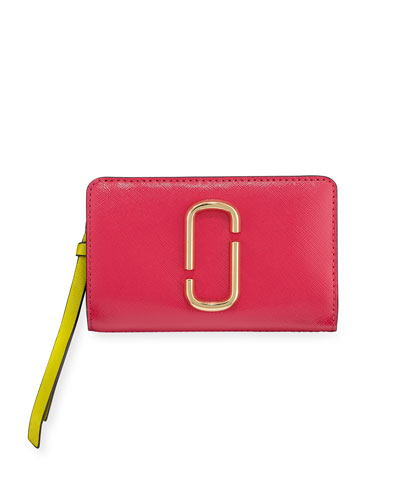 Compact Colorblock Leather Wallet