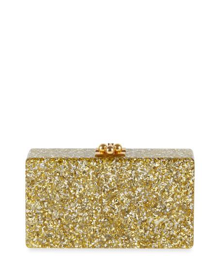 Jean Confetti-Striped Box Clutch Bag, Gold/Silver