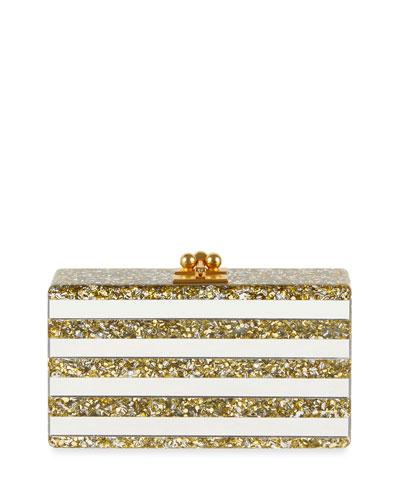 918246467b Edie Parker Jean Confetti-Striped Box Clutch Bag, Gold/Silver from ...