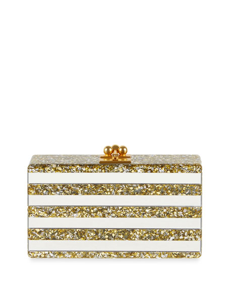 Edie Parker Jean Confetti-Striped Box Clutch Bag, Gold/Silver