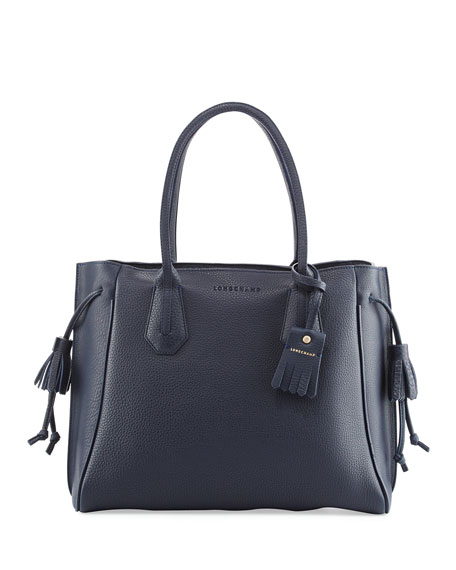 Pénélope Leather Tote Bag, Midnight Blue