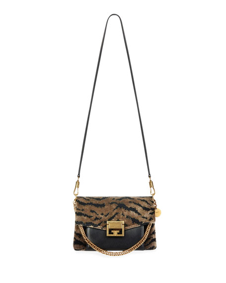 Givenchy GV3 Small Leopard Velvet Shoulder Bag