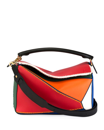 Puzzle Patchwork Colorblock Leather Satchel Bag
