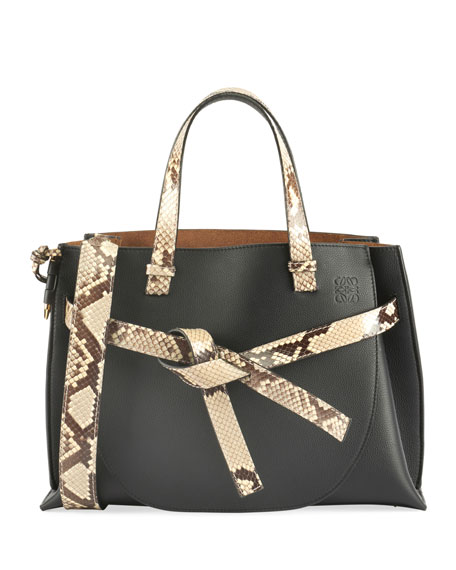 Loewe Gate Snake-Trim Leather Top-Handle Tote Bag