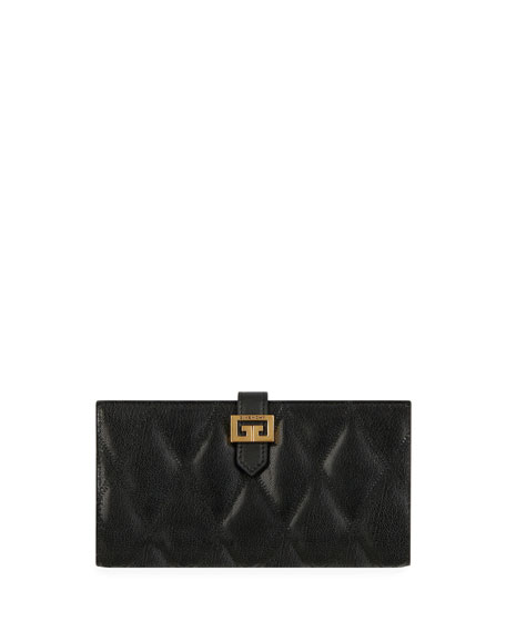 Gv3 Large Quilted Leather Continental Wallet in 001 Black