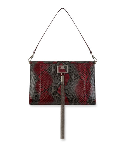 Gem Large Python Shoulder Bag