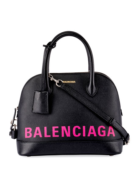 Balenciaga Ville Small AJ Logo-Stencil Leather Tote Bag