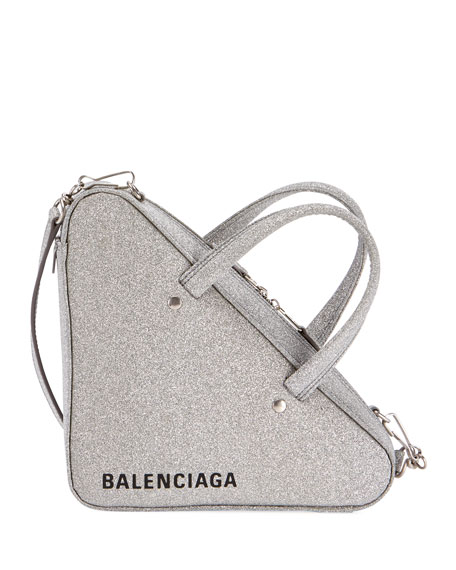 Extra Small Glitter Triangle Leather Bag - Metallic, Gray