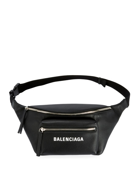 Everyday Large Leather Belt Bag With Logo/Fanny Pack, Black/White