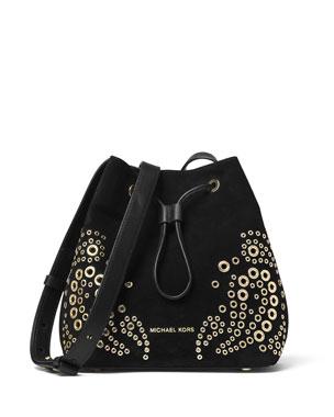 MICHAEL Michael Kors Cary Small Grommet Suede Bucket Bag ef65c02f69
