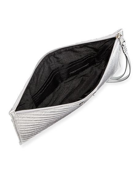 Large Quilted Metallic Zip Clutch Bag