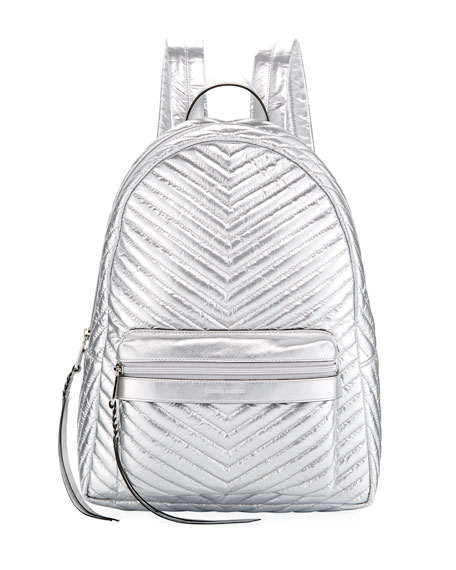 Pippa Large Quilted Metallic Nylon Backpack