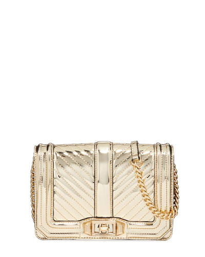 Love Small Chevron Quilted Crossbody Bag, Gold
