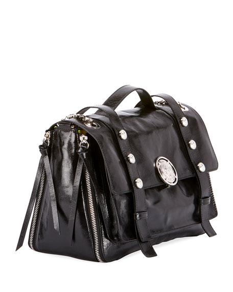 B Soft Shiny Leather Flap Shoulder Bag