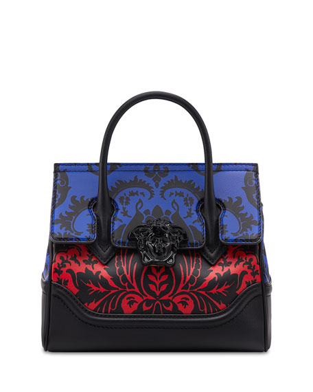 Versace Vitello Stampa Floral Barocco Top-Handle Satchel Bag