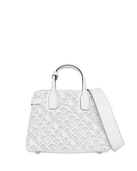 Burberry Banner Small Perforated Tote Bag, Chalk White