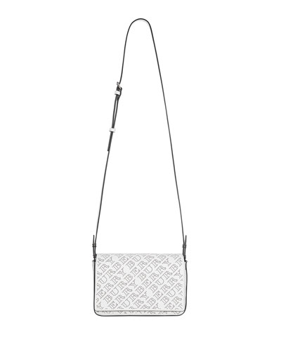 Hampshire Perforated Leather Shoulder Bag, White