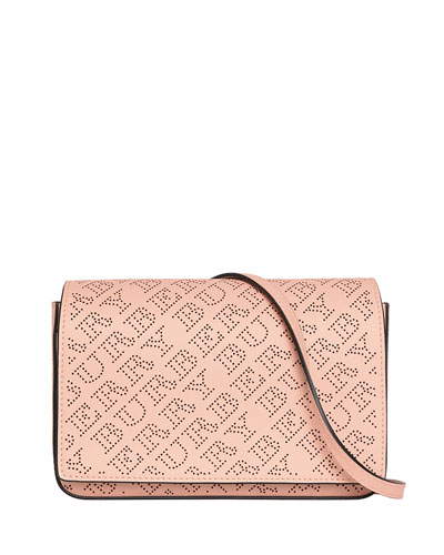 Hampshire Perforated Leather Shoulder Bag, Pale Fawn Pink