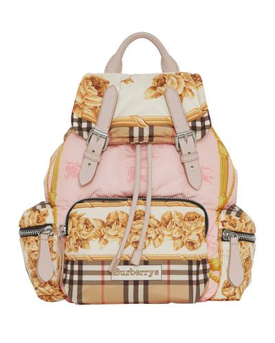 Medium Rucksack Silk-Print Puffer Backpack