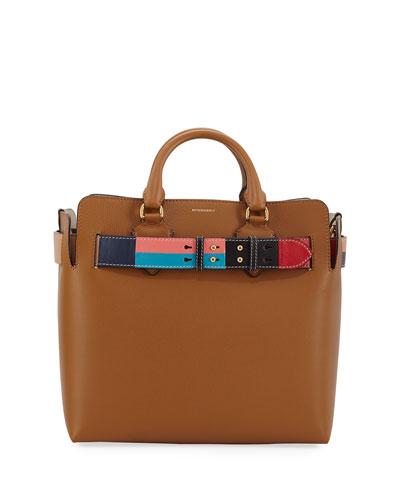 Marais Medium Belted Leather Tote Bag