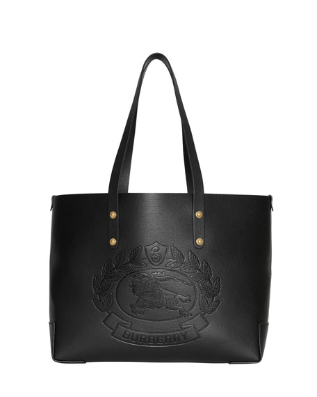 Burberry Crest Small Leather Tote Bag